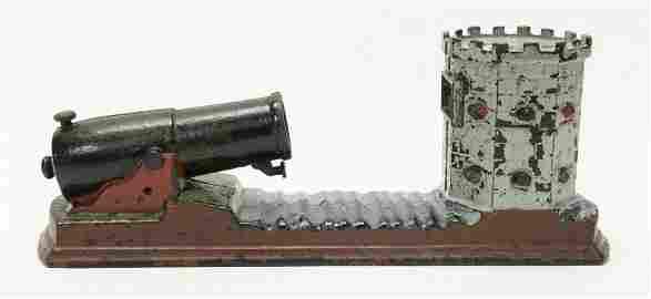 Octagonal Fort Cast Iron Mechanical Bank Rare