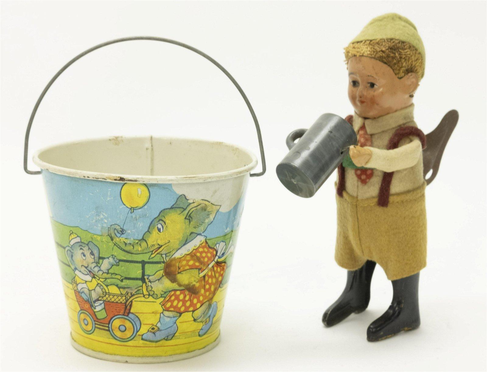 Sand Pail & Schuco Figure Toys