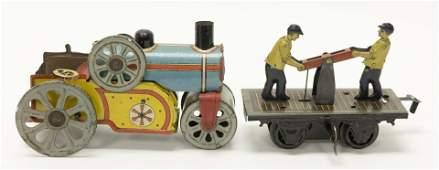 Orober Tractor & Bing Hand Car Windup Tin Toys