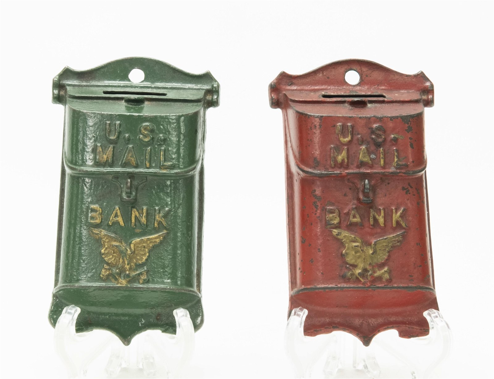 Two Hanging Mail Box Cast Iron Still Banks