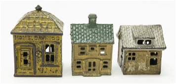 Three Cast Iron Building Banks