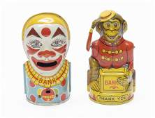Chein Clown and Monkey Mechanical Banks