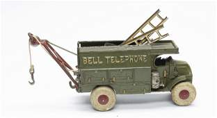 Large Hubley Bell Telephone Cast Iron Truck
