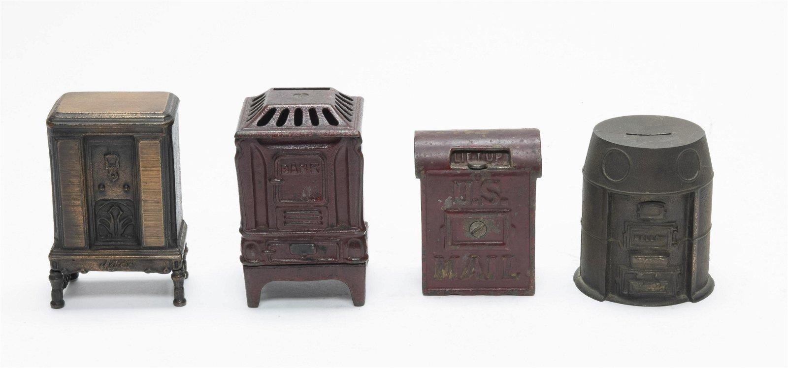 Two Stoves, Mail Box & Radio Iron Banks