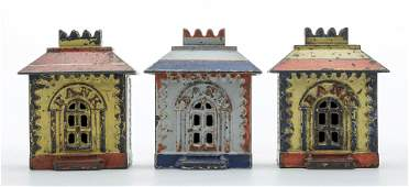 Three Small Cast Iron Painted Crown Banks