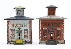 Two Small Cast Iron Painted Cupola Banks
