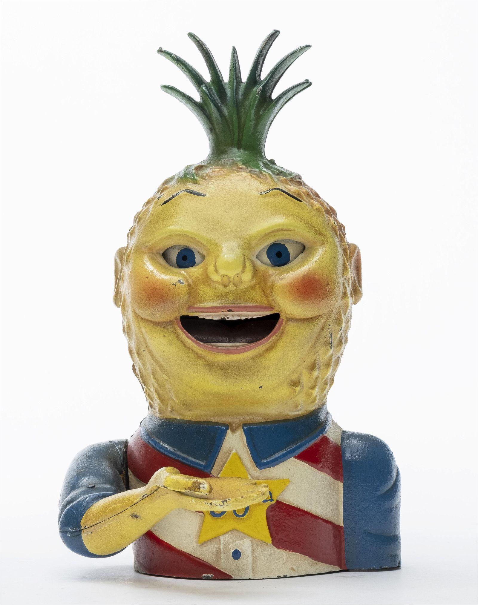 Penny Pineapple Cast Iron Mechanical Bank