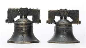 Two Liberty Bell Iron Banks
