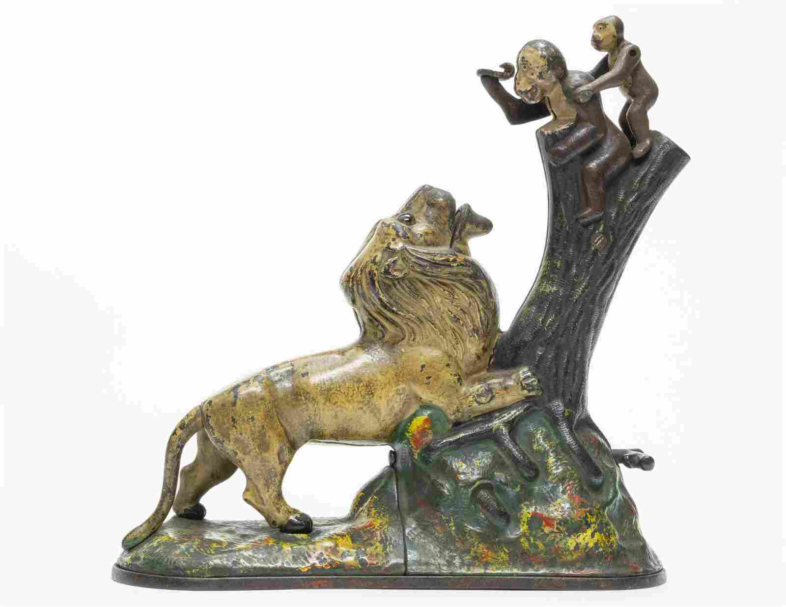 Lion & Monkeys Iron Mechanical Bank