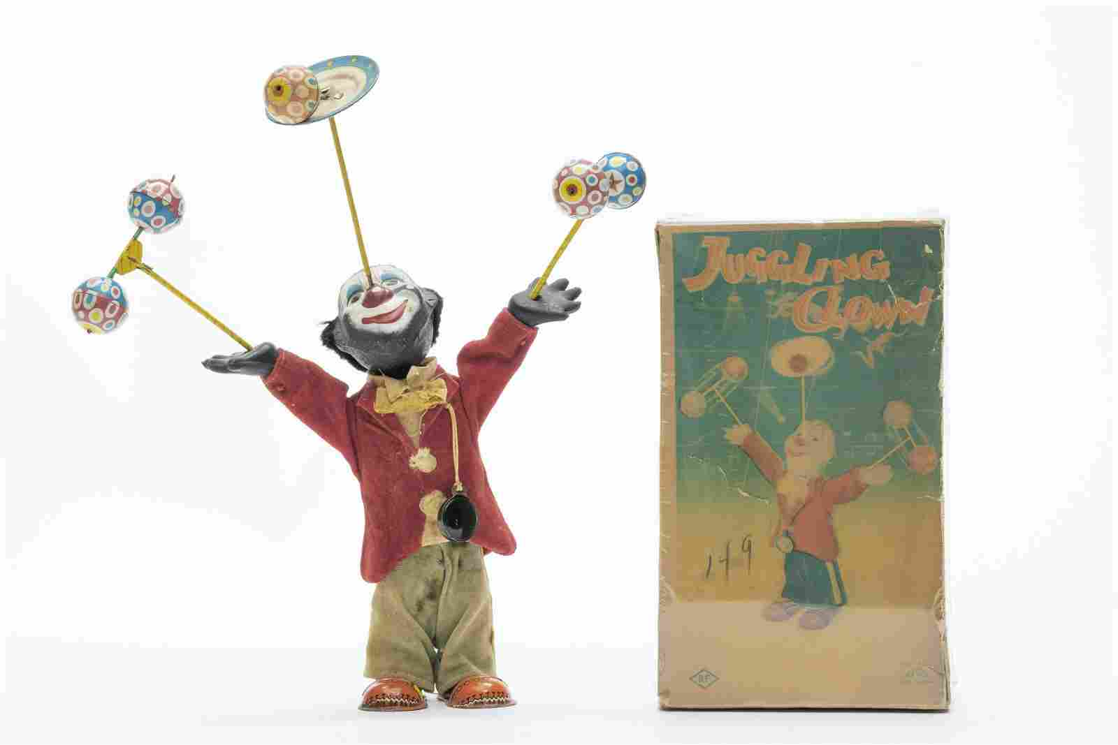 R.F Juggling Clown Rare Version Windup Toy Japan