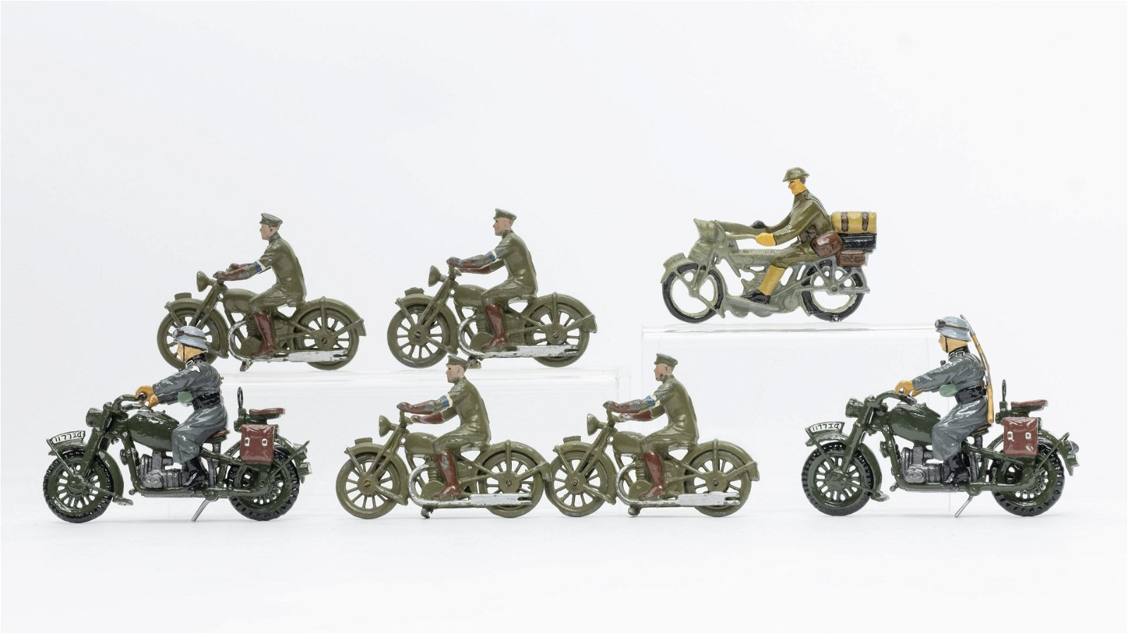 Military Motorcycle Toy Group of 7