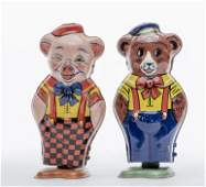 Chein Pig and Bear Windup Tin Toys
