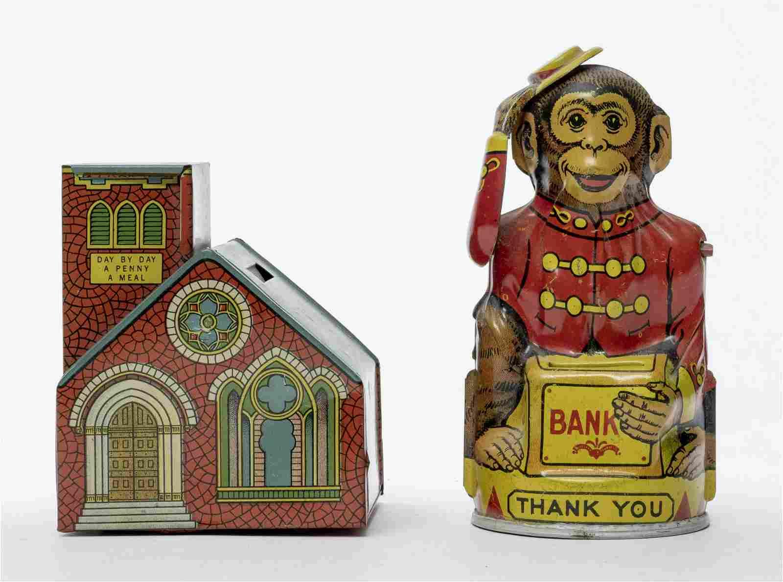 Chein Monkey & Church Tin Banks