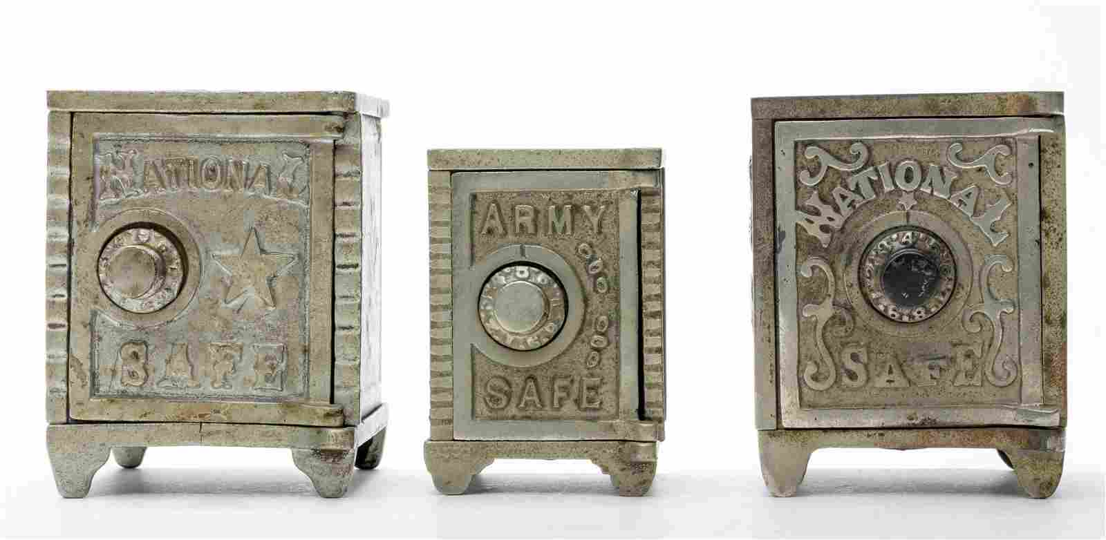 Two National Safes & Army Safe Cast Iron Bank