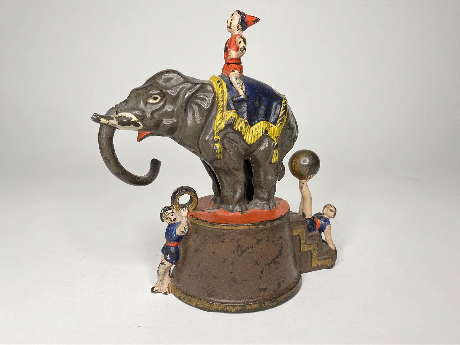 Elephant and Three Clowns Mechanical Bank