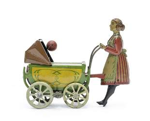 CKO Wind Up Woman Pushing Carriage