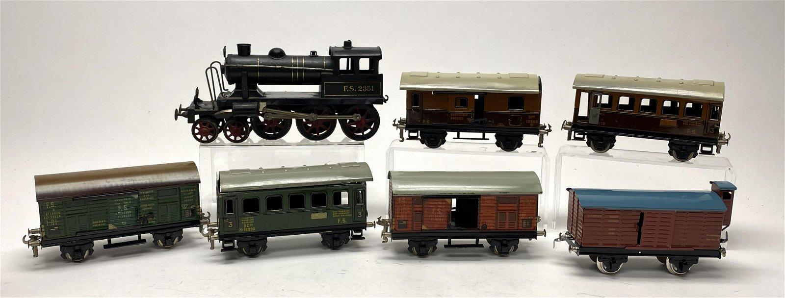 Locomotive and Six Train Cars