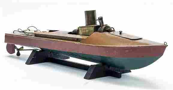 Boucher Live Steam Tin Speed Boat c 1920 Unfired