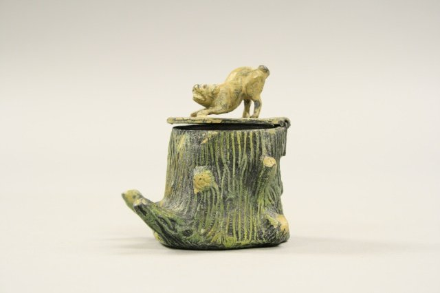 Dog on Top of Tree Trunk, Inkwell