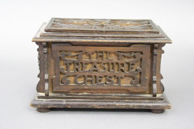 "Folk Art ""The Treasure Chest"" Still Bank"