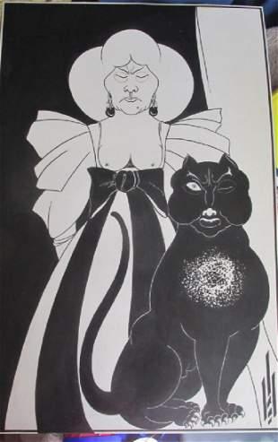Lady w/ Black Cat - Aubrey Beardsley - Pen & Ink