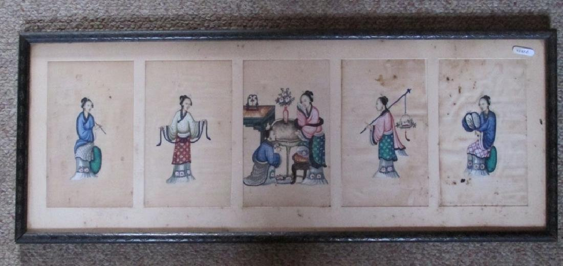 5 Chinese Export Pith Paintings Ladies of Court - 2