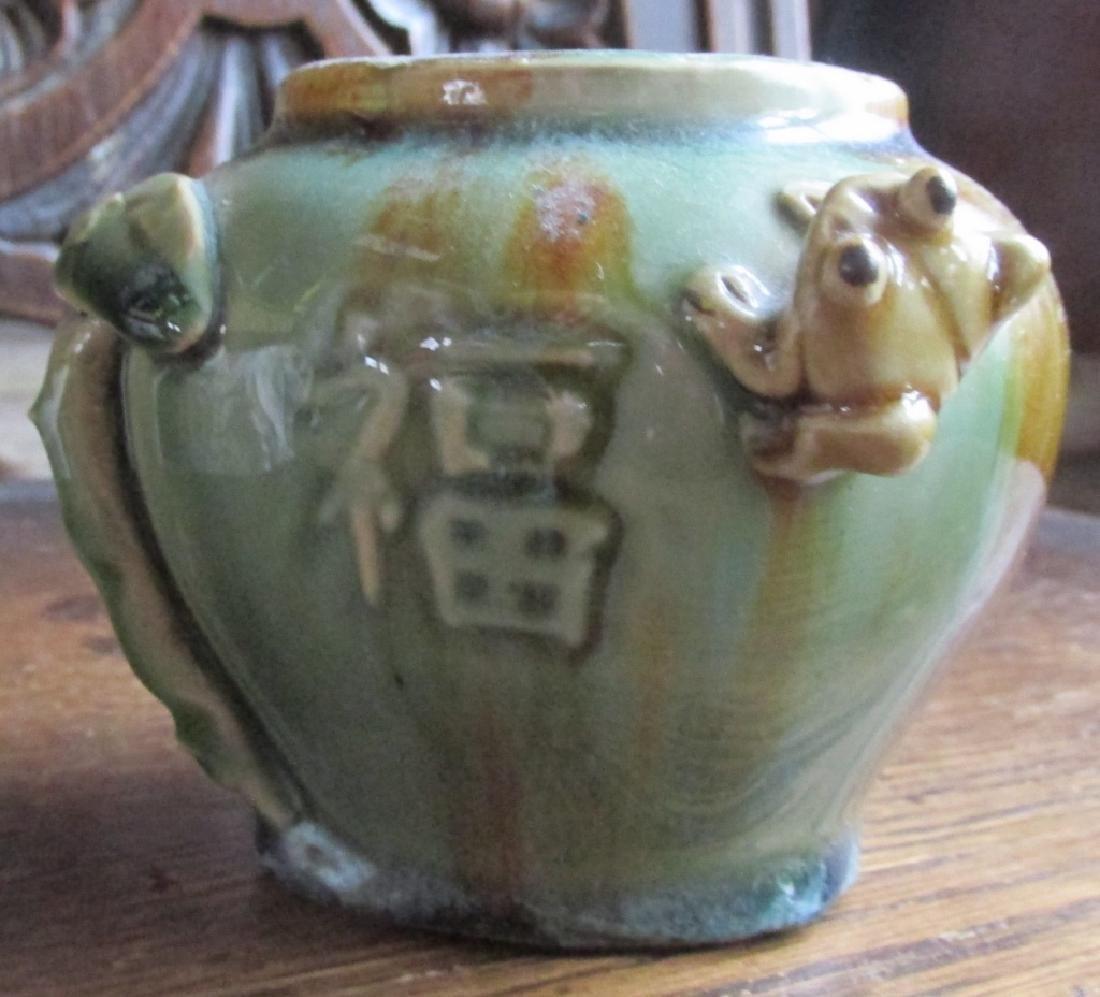 Japanese Sumida Gawa Vase Frog & Toadstool