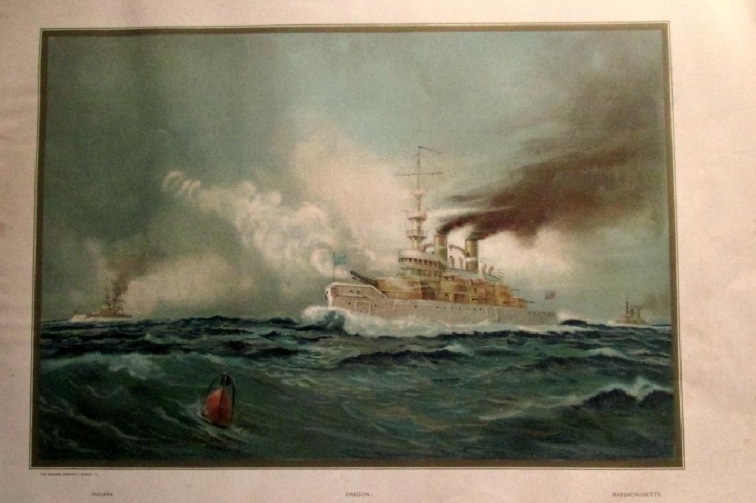 US Navy Battle Ship USS Oregon Indiana & Mass.