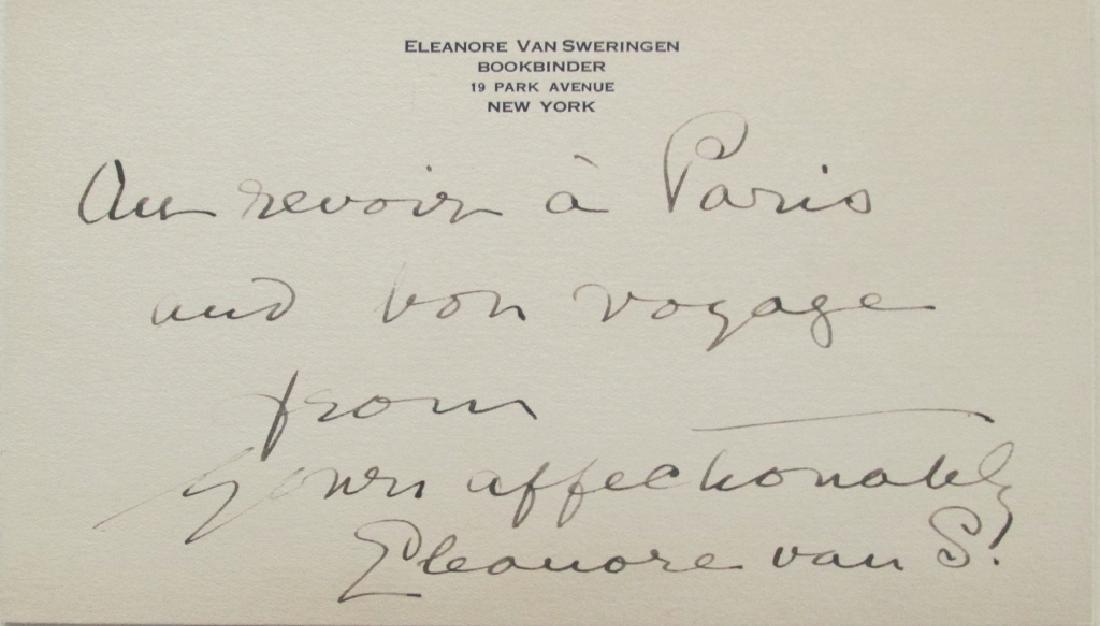 Eleanor Van Sweringen Hand Written Card plus Book