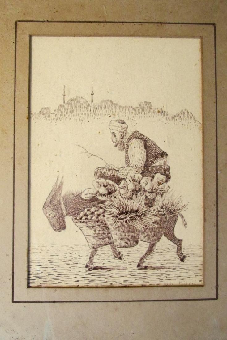 Middle Eastern Man on Donkey Pen & Ink