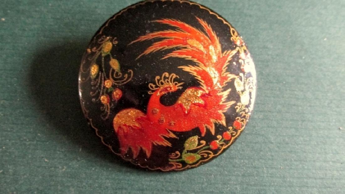 Russian Lacquer Phoenix Brooch