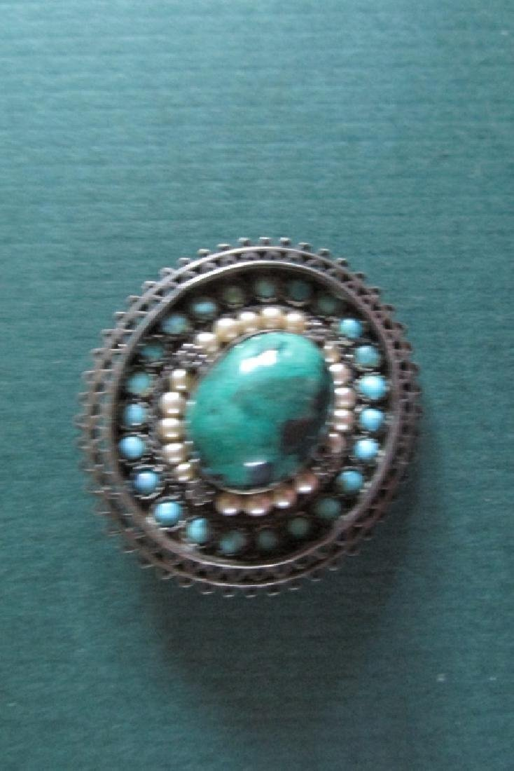 Turquoise & Pearl Antique Silver Brooch & Pendent