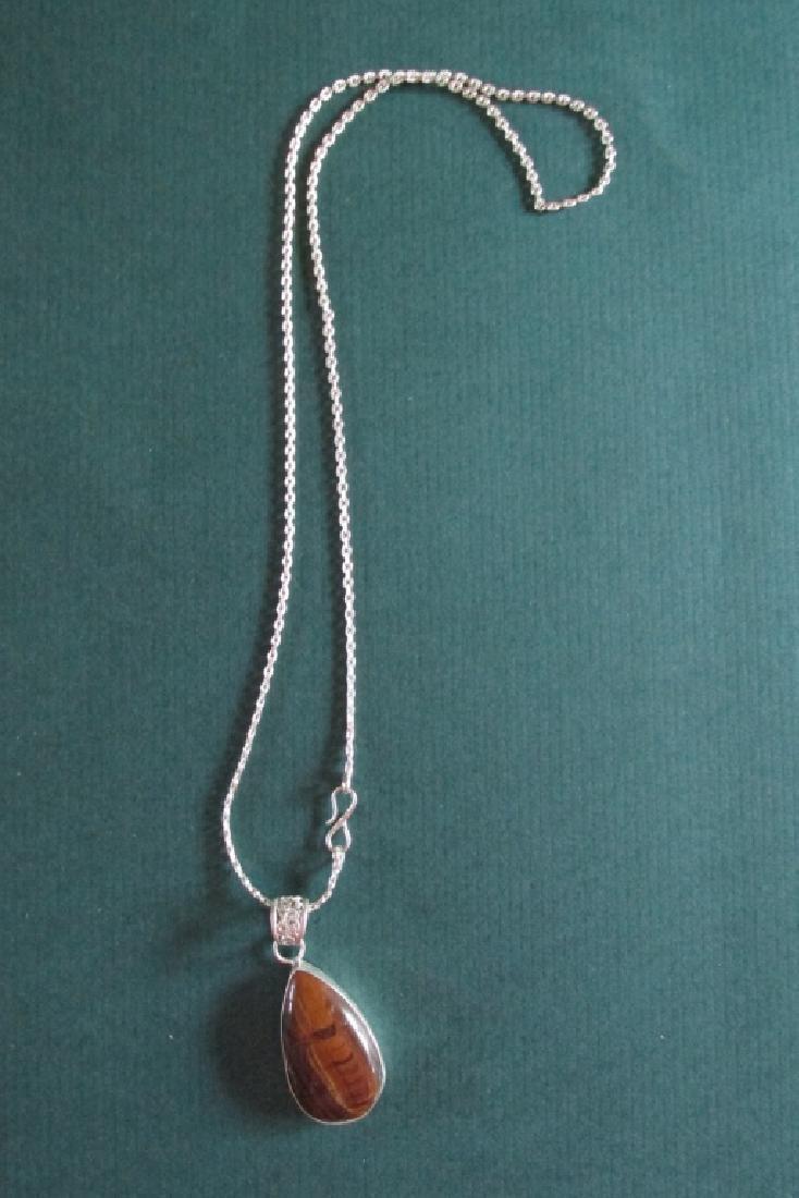Tiger Eye Teardrop Silver Necklace Pendant