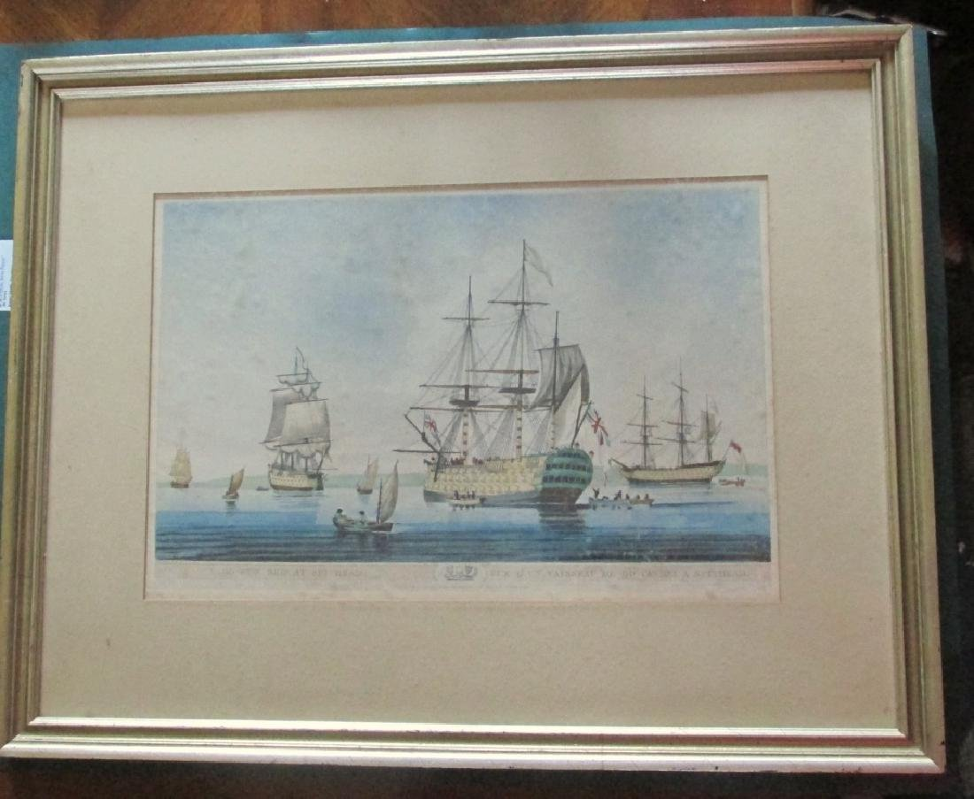 A Sixty Gun Ship at Spithead 1806 Aquatint
