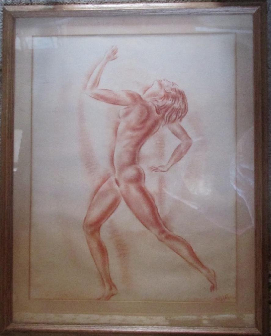 Important Sanguine Art Deco Nude in Movement