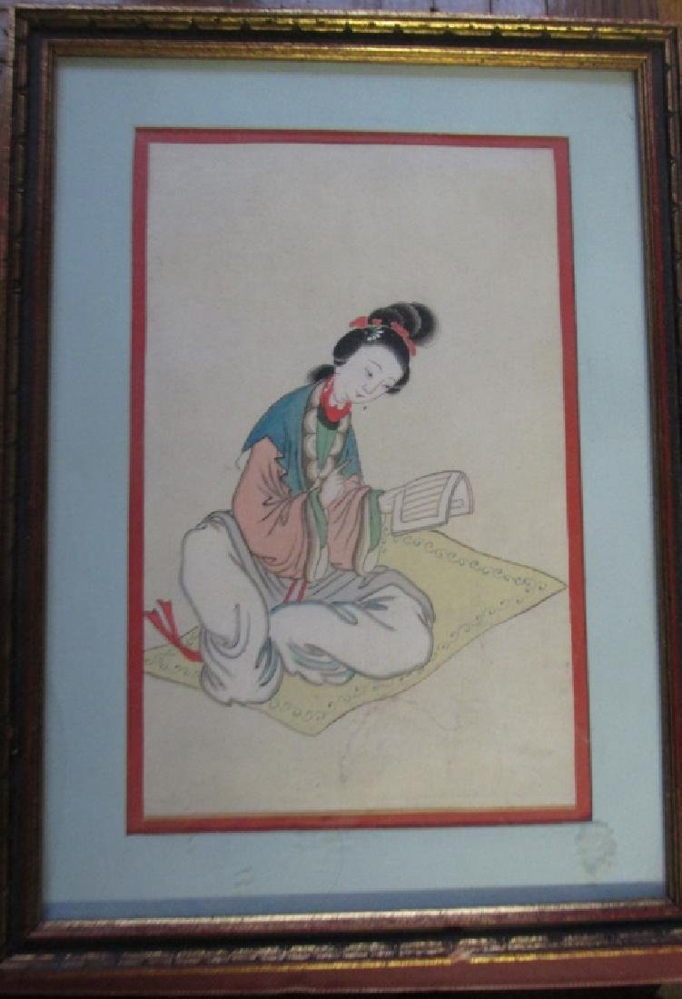 Chinese Court Maiden Watercolor 18th Century