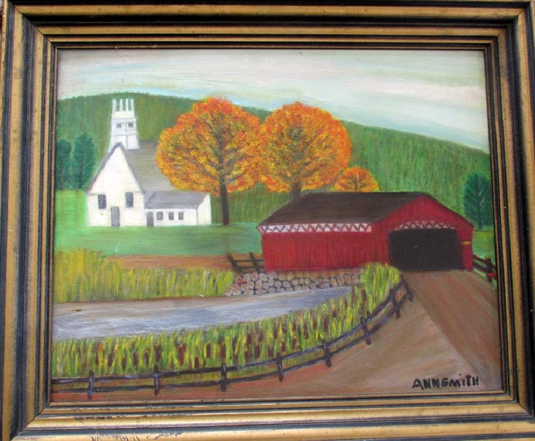 Covered Bridge (Anna M. Smith - American Folk Art)
