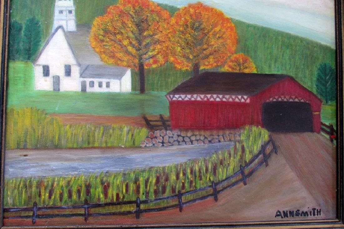 Covered Bridge (Anna M. Smith - American Folk Art) - 2