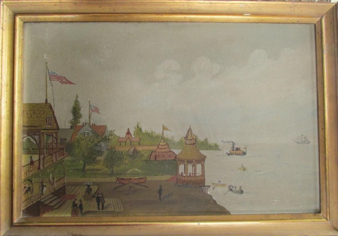 American Folk Art Seashore Painting