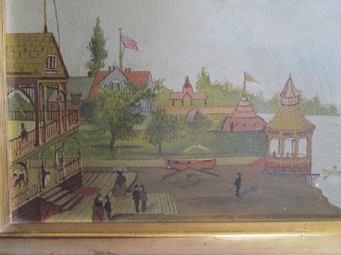 American Folk Art Seashore Painting - 3