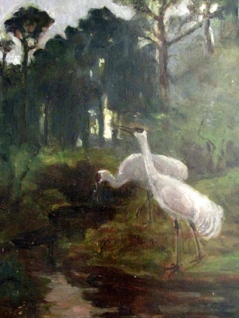 Storks at a Forest Stream  - Impressionism O/C