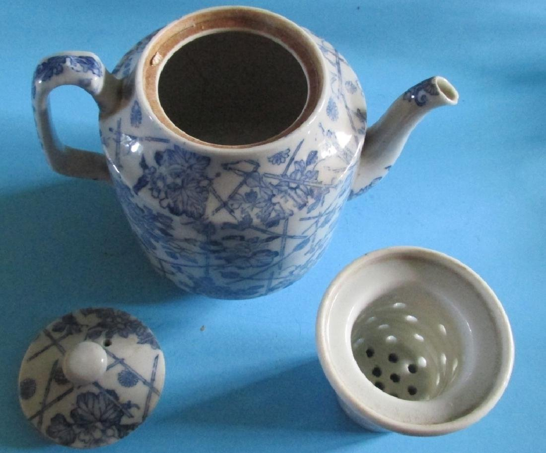 Japanese Blue White Tea Pot - 2
