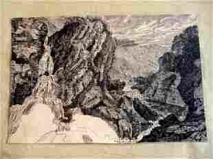 Early Pen & Ink of Waterfalls
