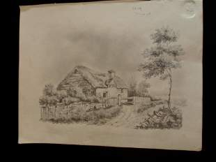 Early Graphite Sketch of English Cottage