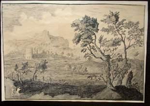 Fine English Pen & Ink Castle in Landscape