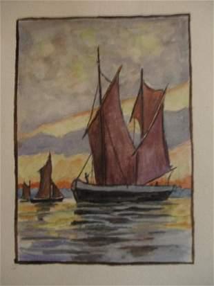 Sailing Ships at Sunset