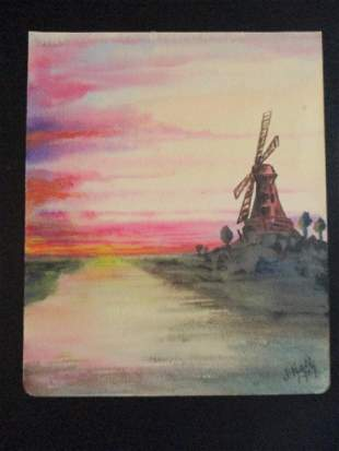 Windmill at Sunset - Dutch School