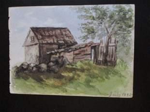 Farm Barn Scene Watercolor