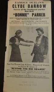 Rare Bonnie & Clyde Theater Broadside 1934