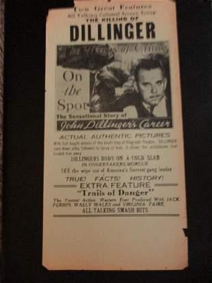 Killing of John Dillinger Theater Broadside 1934